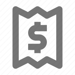 atm, banking, business, dollar, finance, money, paper, slip icon