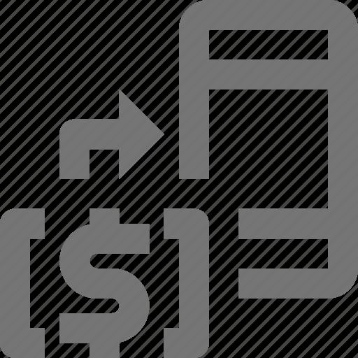 arrow, banking, business, money, phone, smartphone, telephone, transfer icon