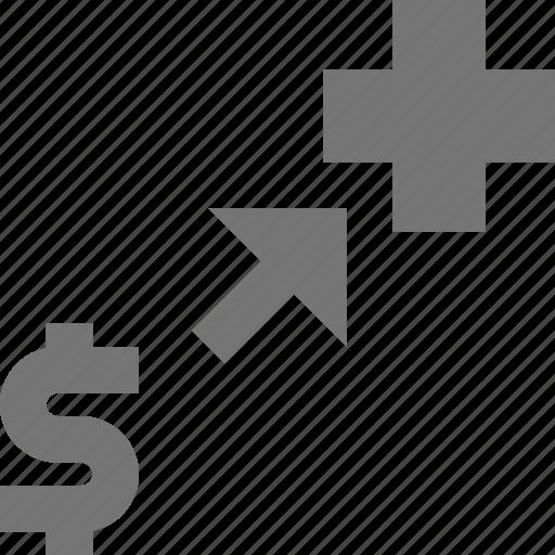 arrow, banking, business, charity, dollar, donation, finance, money icon
