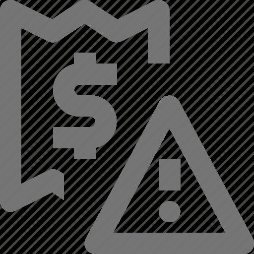 alert, banking, business, dollar, error, exclamation, finance, money icon