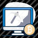 bitcoin, bitcoin earning, bitcoin mining, blockchain mining, cryptocurrency mining, exploring bitcoin, mining icon