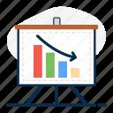 business presentation, data analytics, graphical presentation, infographic, loss chart, recession, statistics icon