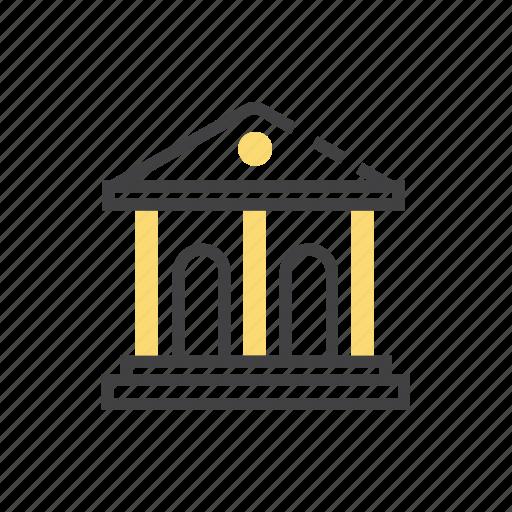 architecture, bank, building, money icon