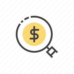 business, currency, magnifier, money, search icon