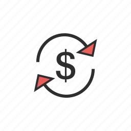 arrows, cash, currency, dollar, finance, money icon