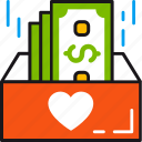 box, charity, dollars, donation, giving, heart, money icon