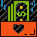 donation, money, heart, dollars, box, giving, charity icon