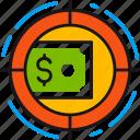 dollar, finance, fund, goal, investment, marketing, target icon