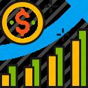 analytics, arrow, chart, dollar, growth, marketing, statistics icon