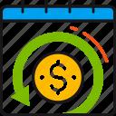 arrow, calendar, coin, dollar, profit, refund, time icon