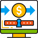 coin, dollar, keyhole, money, online, safety, transfer icon