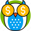 coins, dollar, finance, investment, money, owl, smart icon