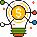 coin, connection, dollar, idea, lamp, solution, startup icon