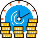 banking, clock, coins, finance, money, saving, time icon