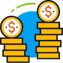 banking, coins, dollar, finance, money, saving, value icon