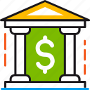 bank, banking, building, dollar, finance, money, safety icon