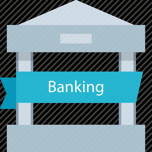 bank, banking, ribbon, top icon