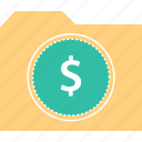dollar, file, folder, sign icon