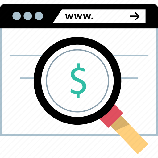 dollar, online, search, sign icon