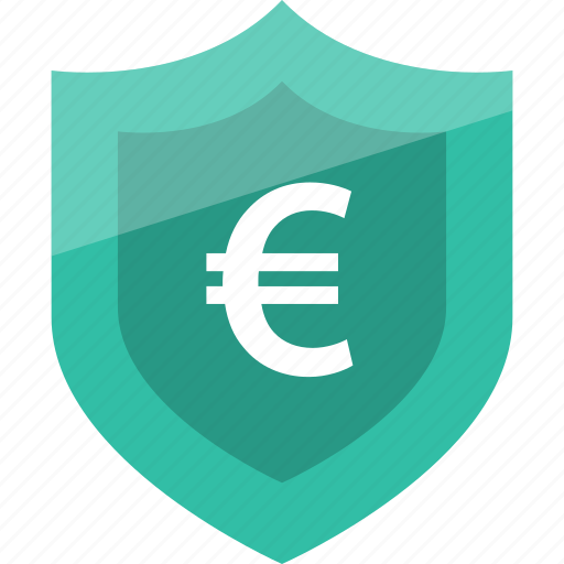 euro, secured, shield, sign icon