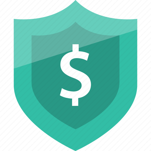dollar, secured, shield icon