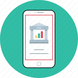 banking, data, mobile, phone icon