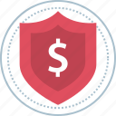 dollar, secured, shield, sign icon
