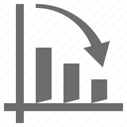 analysis, bar, fall, graph icon