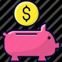 coin, piggy, piggy bank, save money, savings icon
