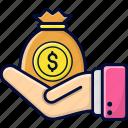 dividend, dollar, investment, money, wage icon
