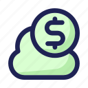 cloud, coin, digital, dollar, money, savings icon