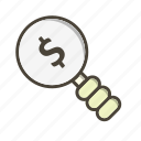 dollar, money, profit, search icon