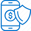 finance, mobile, money, phone, protection, security, shield icon