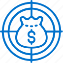 bag, business, capital, finance, money, target, venture icon