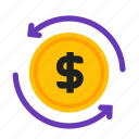 credit, currency, money, refund icon