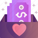 donation, charity, heart, sparkles, money, box, giving icon