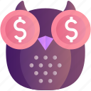 investment, smart, business, dollar, finance, money, owl