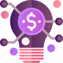 solution, bulb, dollar, finance, idea, lamp, money