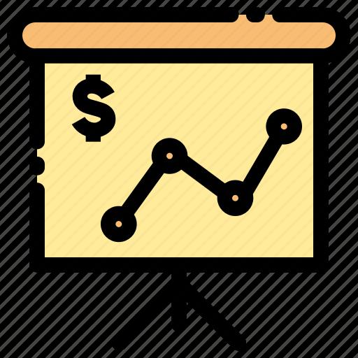 banking, chart, diagram, finance, meeting, presentation, rates exchange icon