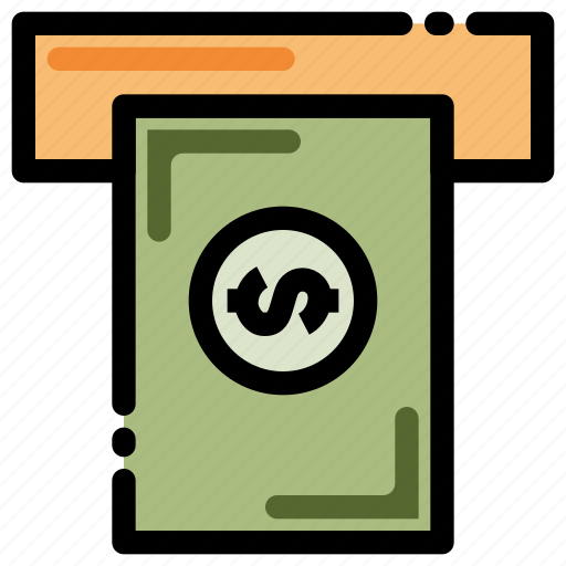 banking, cash, finance, money, payment, transaction, withdrawal icon