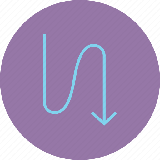 arrow, direction, down, downward, flow, navigation, zig zag icon