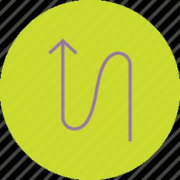 arrow, direction, flow, navigation, up, upward, zig zag icon