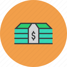 bundle, business, cash, dollar, finance, funds, money icon
