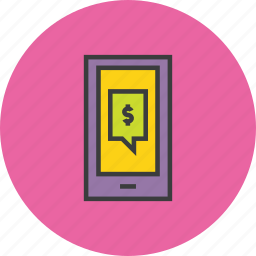 dollar, finance, message, mobile alert, mobile banking, notification, transaction details icon