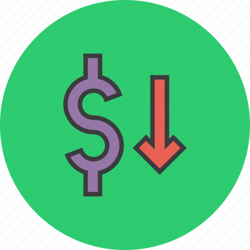 decrease, dollar, finance, shares, stocks, trade, value icon