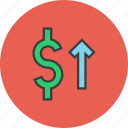 dollar, finance, increase, shares, stocks, trade, value icon