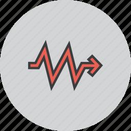analysis, arrow, direction, flow, report, sales, statistics icon