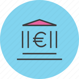 bank, banking, building, euro, financial, instituition, institute icon