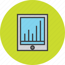 analytics, data visualization, finance, graph, infographic, ipad, statistics icon