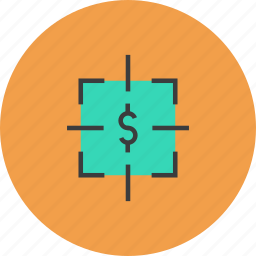 aim, business, dollar, financial, goal, sales, target icon